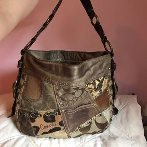 Coach animal print shoulder purse